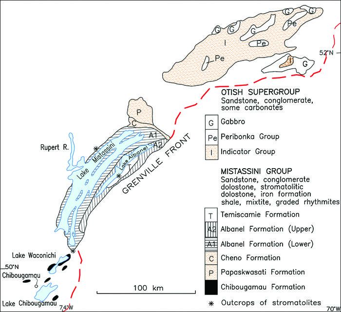 Location of rocks from the Mistassini Group and the Otish Supergroup that were used used as long-distance indicators of glacial transport during this study; the gabbro from the Otish Supergroup and iron formation from the Témiscamie Formation were not used. Adapted from Caty (1976), Hofmann (1978), Genest (1989) and Ressources naturelles du Québec (2002).