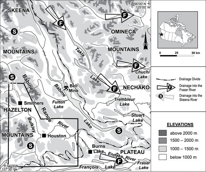Location map of the Bulkley River region. The black box delineates the study area.