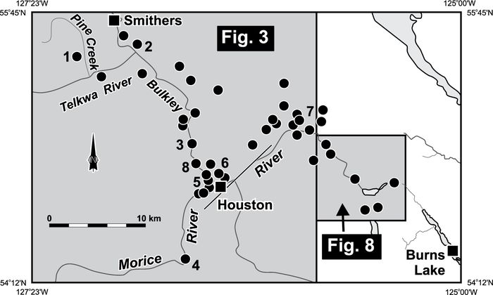 Locations of described and sampled exposures in the Bulkley River region. Reference sections shown in Figure 3, and an additional section described in the text are identified on the map. The shaded boxes outline geographical areas shown in Figures 3 and 8.