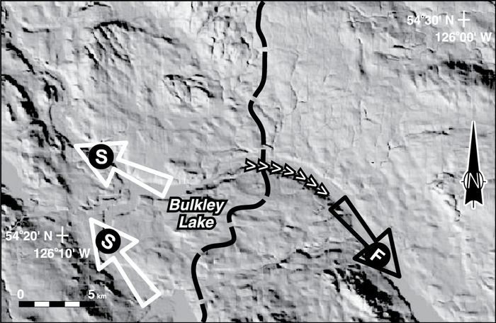This digital elevation model (DEM) is shown covering the eastern part of the region outlined in Figure 3. The DEM is illuminated from the southwest and has a 3x vertical exaggeration. The black arrows delineate the direction of modern drainage. The dashed line marks the drainage divide between the Bulkley River (Skeena) and Endako River (Fraser) drainages. An esker-like ridge (>>>>) crosses the divide east of Bulkley Lake.