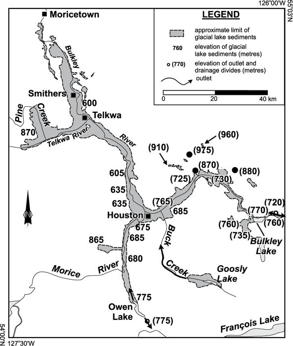 The maximum elevation of late-glacial glaciolacustrine sediments in the Bulkley River region. The limits of these proglacial lakes were defined using field data, interpretations of the surficial geology from 1:60 000‑ to 1:70 000‑scale aerial photographs, and observations and data by Farstad and Laird (1954), Runka (1972), Clague (1984), and Church and Barakso (1990).