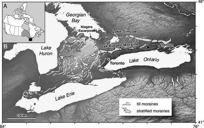 (A) Location of study area in southern Canada. The province of Ontario is shown in grey and study area as a black box. (B) Digital elevation model of southern Ontario with till and stratified moraines highlighted.