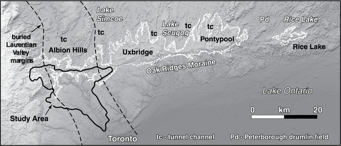 Digital elevation model of the ORM with the four moraine segments labeled. The 270 m contour is used to outline the approximate landform expression of the ORM. Note tunnel channels defined by northeast-southwest trending valleys with low surface roughness north of the ORM and intervening drumlinized terrain. Humber River watershed study area is outlined in black.