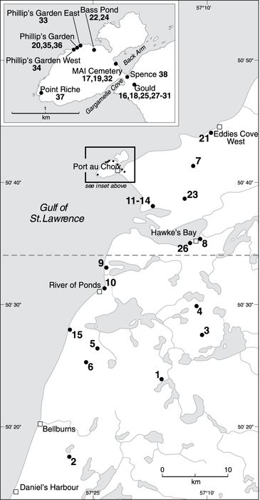 Location of study area and radiocarbon-dated sample sites described in Table I and plotted on Figure 3. Samples were selected to reconstruct RSL curves for either Port au Choix or Bellburns depending on their location north or south of dashed line, respectively.Localisation du site à l'étude et des échantillons datés au radiocarbone décrits au tableau I et montrés sur la figure 3. Les échantillons ont été sélectionnés pour la reconstruction des courbes de NMR pour la localité de Port au Choix ou de Bellburns, selon leur emplacement respectif au nord ou au sud de la ligne tiretée.