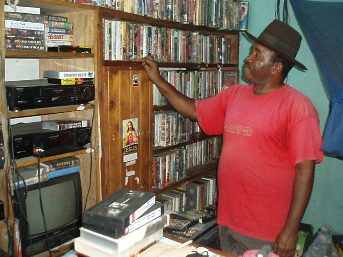 Lufufu in his private video archives, Dar es Salaam, 2007.