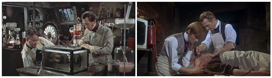 Figure 5 : Photogramme tiré du film The Curse of Frankenstein (Terence Fisher, 1957). Figure 6 : Photogramme tiré du film Frankenstein Must Be Destroyed (Terence Fisher, 1969).