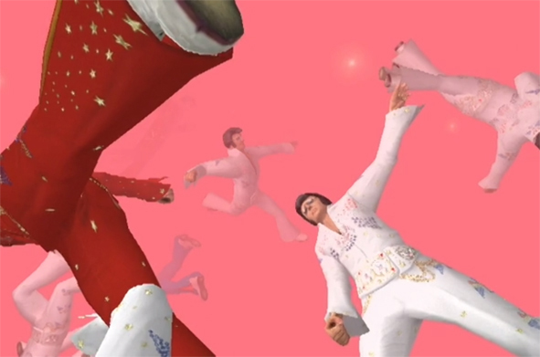 Video still from KarmaPhysics<Elvis (Brody Condon, 2004), https://vimeo.com/24001068 (accessed on August 21, 2015).