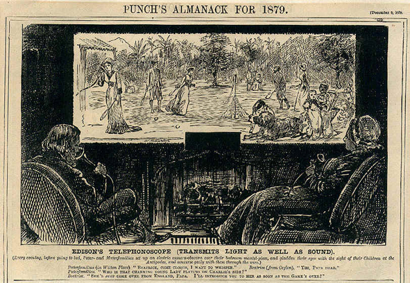 "George Du Maurier, fictional illustration of ""Edison's telephonoscope"" for Punch published on December 9th, 1878."