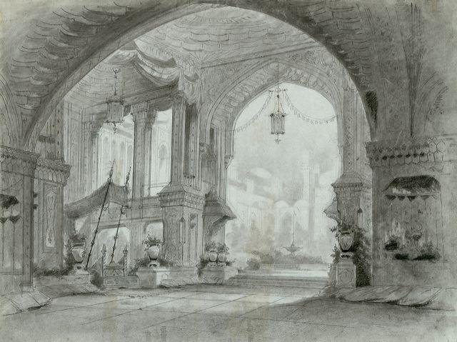 Sketches from the opera sets by Louis Daguerre and Pierre-Luc-Charles Ciceri. Sketch by Daguerre. Acte III, tableau 1: Aladdin's palace, throne room.