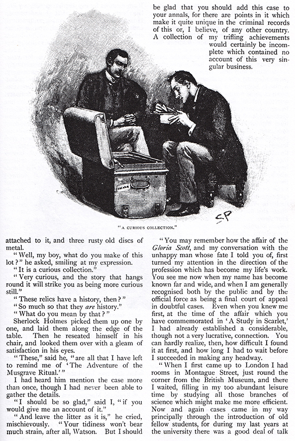 A Curious Collection (Sidney Paget, 1893). Illustration des aventures de Sherlock Holmes parue dans Sir Arthur Conan Doyle, « The Adventure of the Musgrave Ritual », The Strand Magazine : An Illustrated Monthly, vol. 5, mai 1893, p. 480.