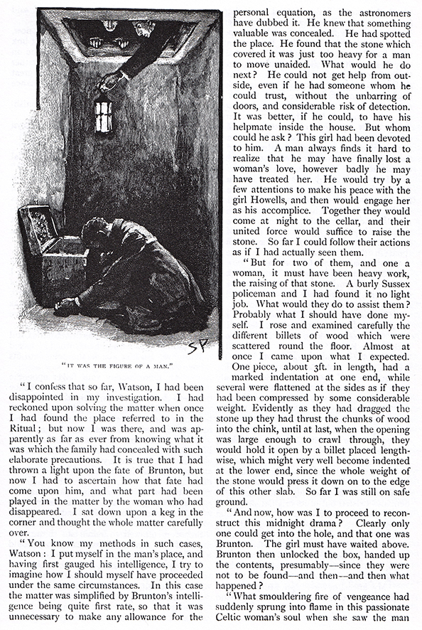 It Was the Figure of a Man (Sidney Paget, 1893). Illustration des aventures de Sherlock Holmes parue dans Conan Doyle, 1893, p. 488.