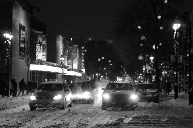 Saint-Denis Street during the Christmas period, Montreal, December 21, 2013.