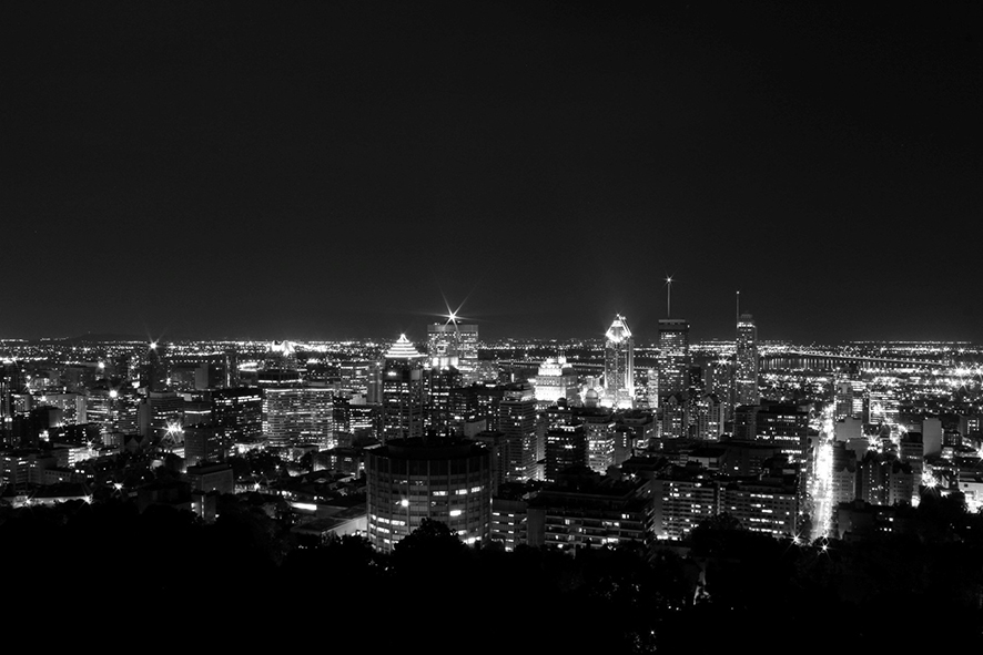Panoramic view of downtown Montreal from the Mount Royal observatory, July 27, 2013.