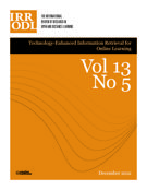 Couverture de Special Issue: Technology-Enhanced Information Retrieval for Online Learning,        Volume 13, numéro 5, décembre 2012, p. 1-189 International Review of Research in Open and Distributed Learning