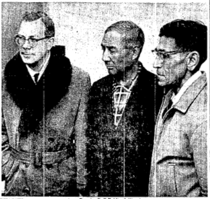 Manitoba Premier Duff Roblin (left) returning to Winnipeg after a trip to Thompson to investigate allegations of famine in Nelson House, in company of Chief Gilbert MacDonald of the Nisichawayasihk Cree Nation, and his interpreter, William Thomas (right). At their request, they were about to meet government officials in the province's capital, to speak about employment issues in the north of the province.