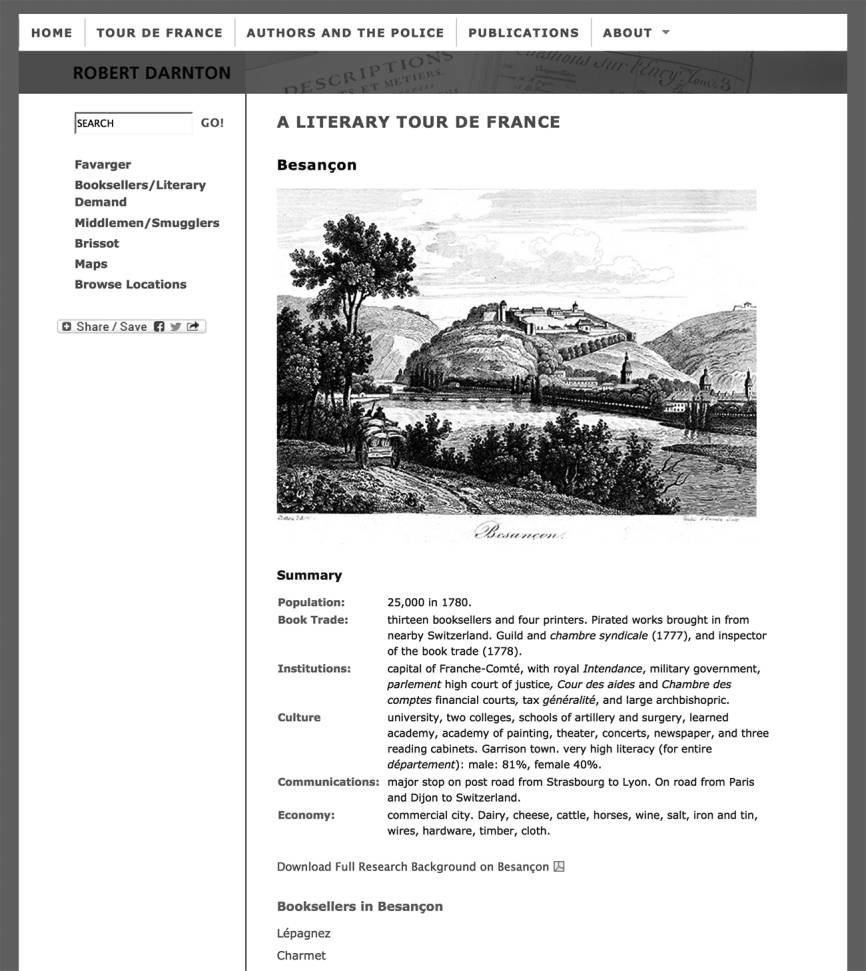 The website page for Besançon