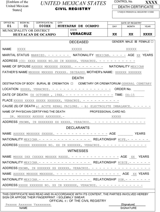 Templating as a strategy for translating official meta rudit mexican death certificate yadclub Images