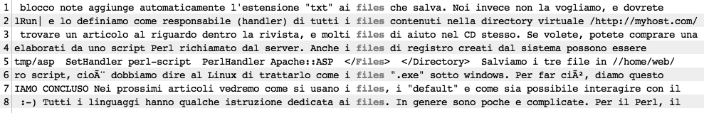 Concordance lines of files in original Italian texts (selected)
