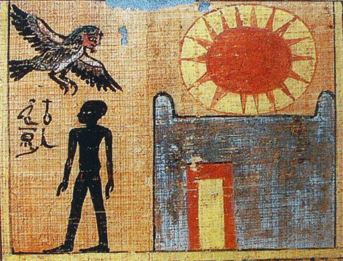 Le Ba, le nom et l'ombre (Livre des Morts de Néféroubenef, 18e dynastie (musée du Louvre).