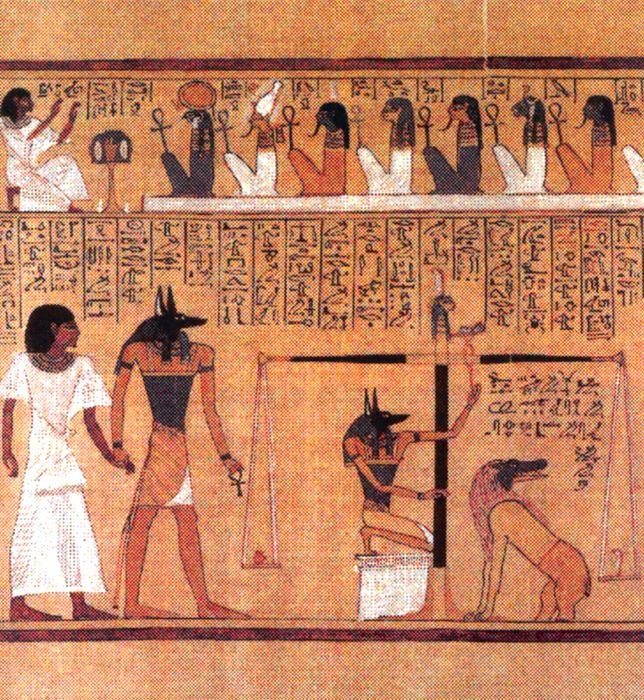 La «pesée du coeur» (papyrus Hounefer, 19e dynastie).