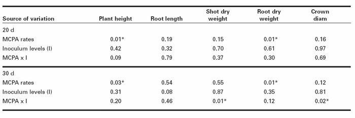 Significance levels of the effects of three rates of MCPA herbicide and two inoculum levels of Fusarium oxysporum on growth parameters of red clover in two greenhouse trials