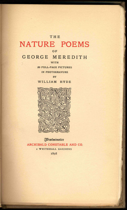 Title-page to The Nature Poems of George Meredith [Constable, 1898]