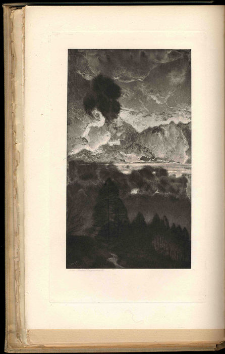 "William Hyde, untitled illustration to Meredith's poem ""The South Wester,"" The Nature Poems of George Meredith [Constable, 1898]. Black and white photogravure."