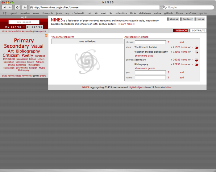 The NINES interface with Collex sidebar to the left and faceted browsing system prominently displayed.