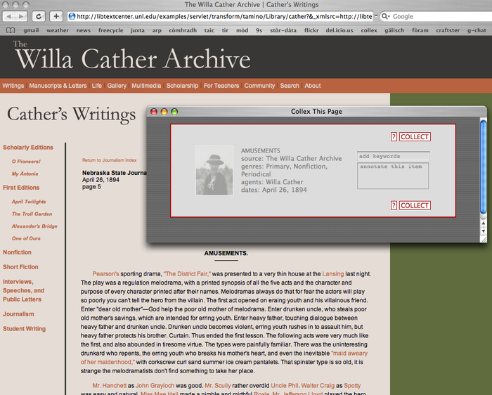 "Collecting an object from the Willa Cather Archive using the Collex bookmarklet. The collector window was accessed by clicking the ""collex"" link in the web browser's menu bar."