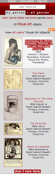 "A genre list view of the current user's ""Visual Art"" objects."