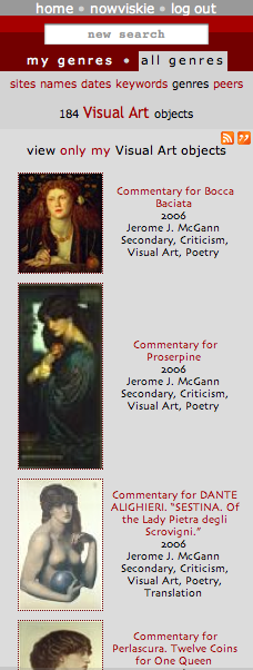 "A genre list view, showing ""Visual Art"" objects collected by all NINES users. Toggle back to your own list view by clicking ""view only my Visual Art objects."""