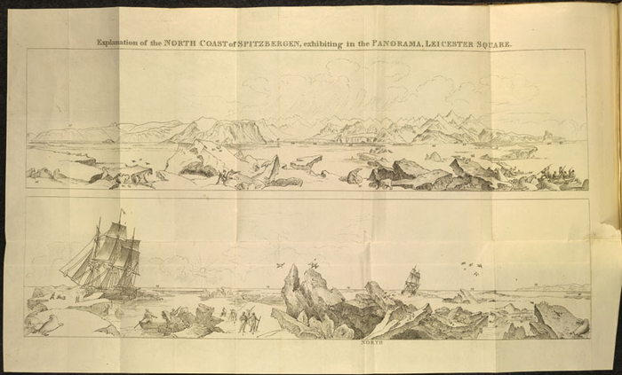 Pictorial key from Description of a View of the North Coast of Spitzbergen, Painted from Drawings Taken by Lieut. Beechey, Who Accompanied the Polar Expedition in 1818; Which Is Now Exhibiting in the Large Rotunda of Henry Aston Barker's Panorama, Leicester Square. London: Adlard, 1819
