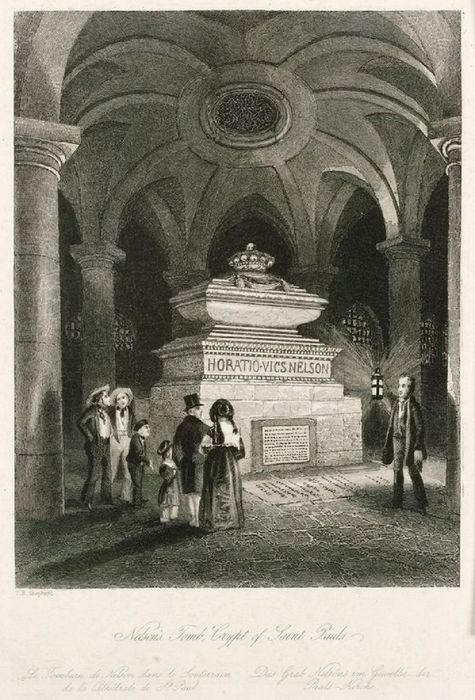 Thomas Hosmer Shepherd, 'Nelson's Tomb, Crypt of St. Paul's' from London and its environs in the nineteenth century: illustrated by a series of views from original drawings.