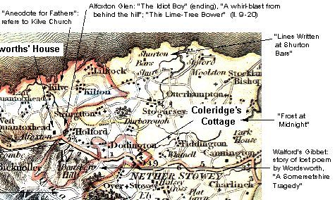 Quantock Hills (detail): poem locations, from a map of 1804 (57K)