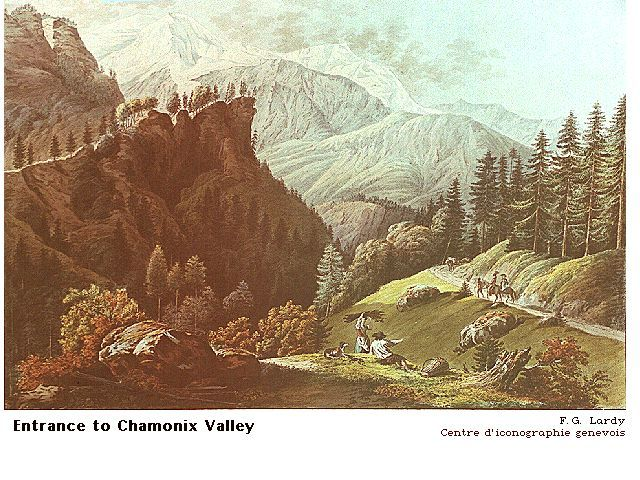 F. G. Lardy, Entrance to the Valley of Chamonix (256K)