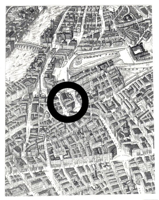 The location of The King's Theatre in the Haymarket (bird's eye view from the north). Detail, A Balloon View of London (1851).