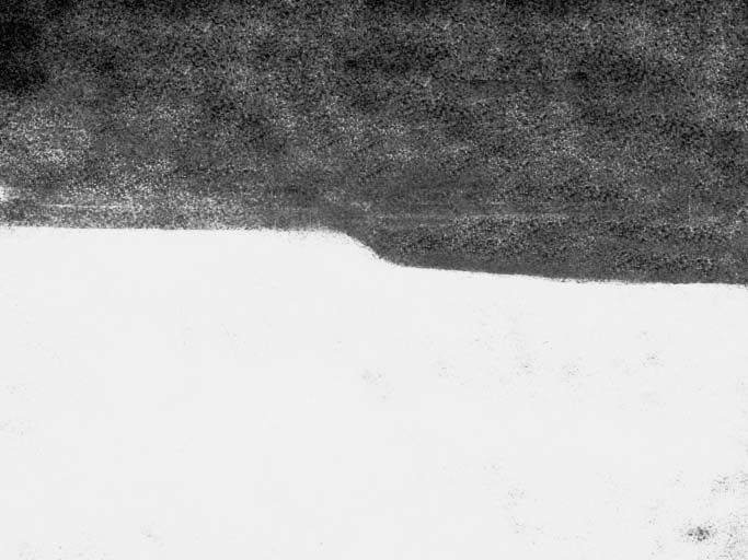 The Song of Los copy B, plate 2, bottom edge of verso. Detail: computer enhancement of platemark to show dent in edge of plateUsed with permission.