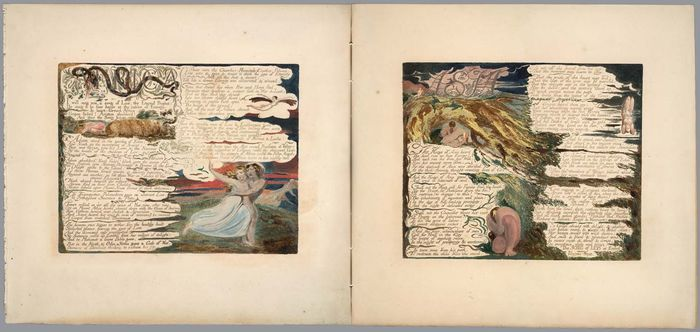 The Song of Los, recreated design for plates 3-4 and 6-7 as pages stitched together to form a diptych; based on copy EThis item is reproduced by permission of The Huntington Library, San Marino, California.