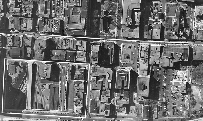 The Place Ville-Marie Site, 1947, with Ste. Catherine Street indicated above