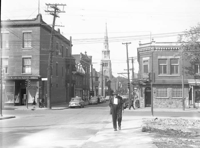 Dorchester Street, intersection with Amherst, 1953