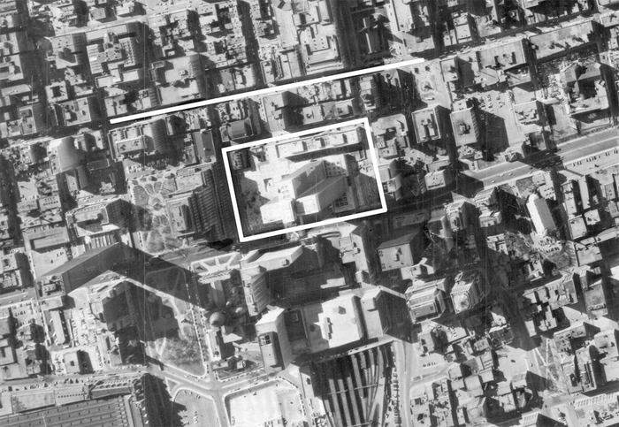 The Place Ville Marie site, 1962, with Ste. Catherine Street indicated above